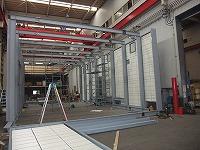防音エンクロージャーの工場仮組み