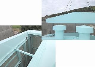 発電機用大型防音カバーの屋根パネルを外したとき